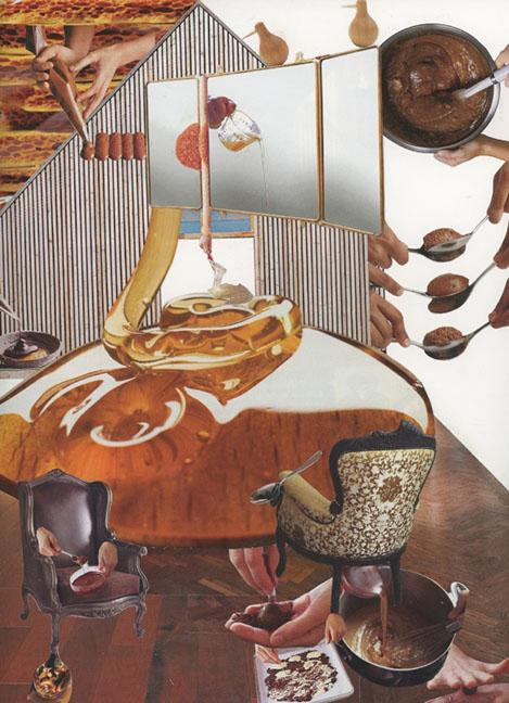 TONIA DI RISIO  Making Quenelles , 2015 Handcut collage, 12 x 9 inches