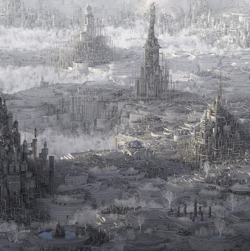"MATHEW BORRETT Detail of Fever Dream City , 2015  Archival Pigment Print on Paper, 42"" x 96"""