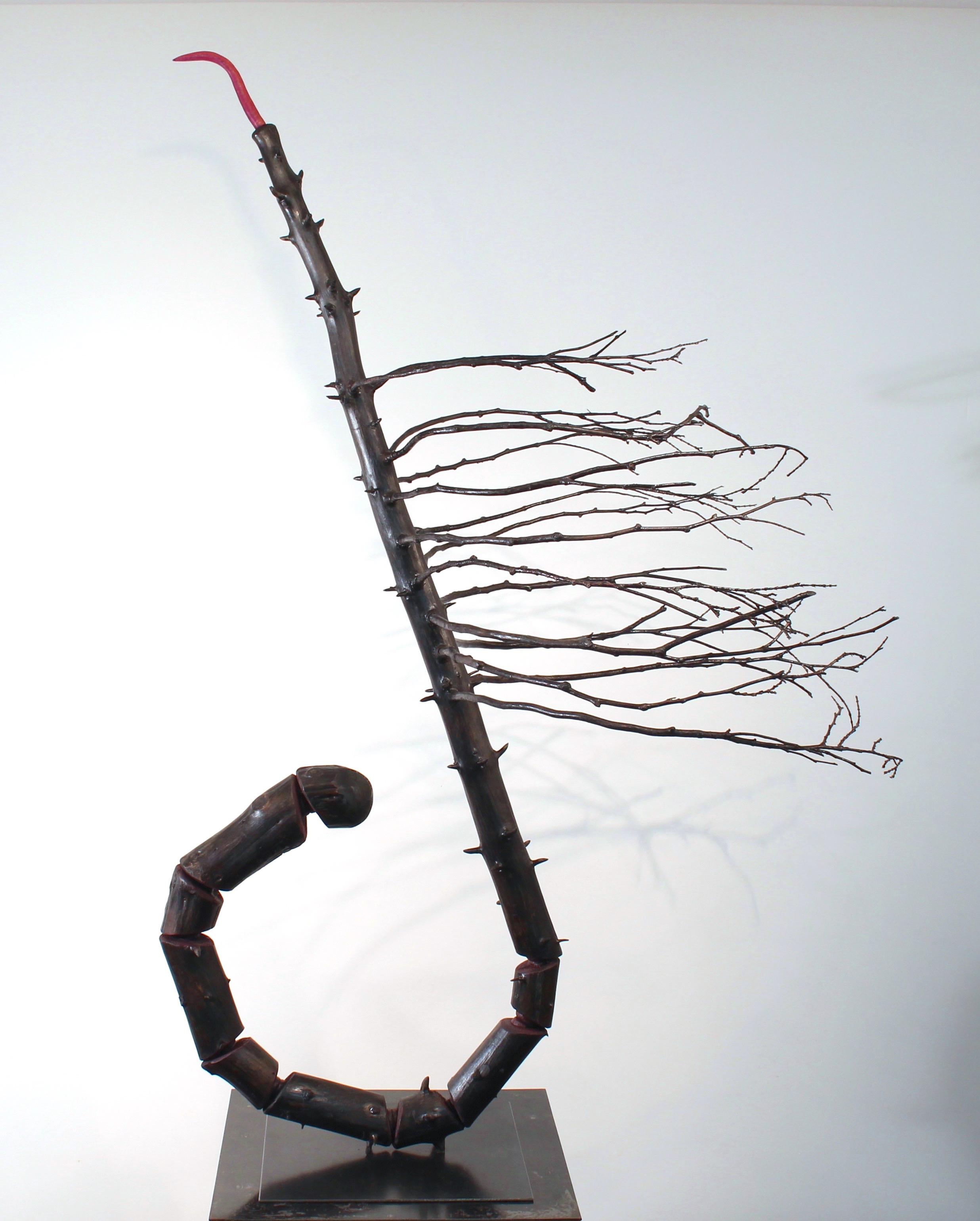 "Expectations II,  2016 Spruce tree, cedar branches, foam, acrylic paint, steel base, 50"" x 38"" x 28"""