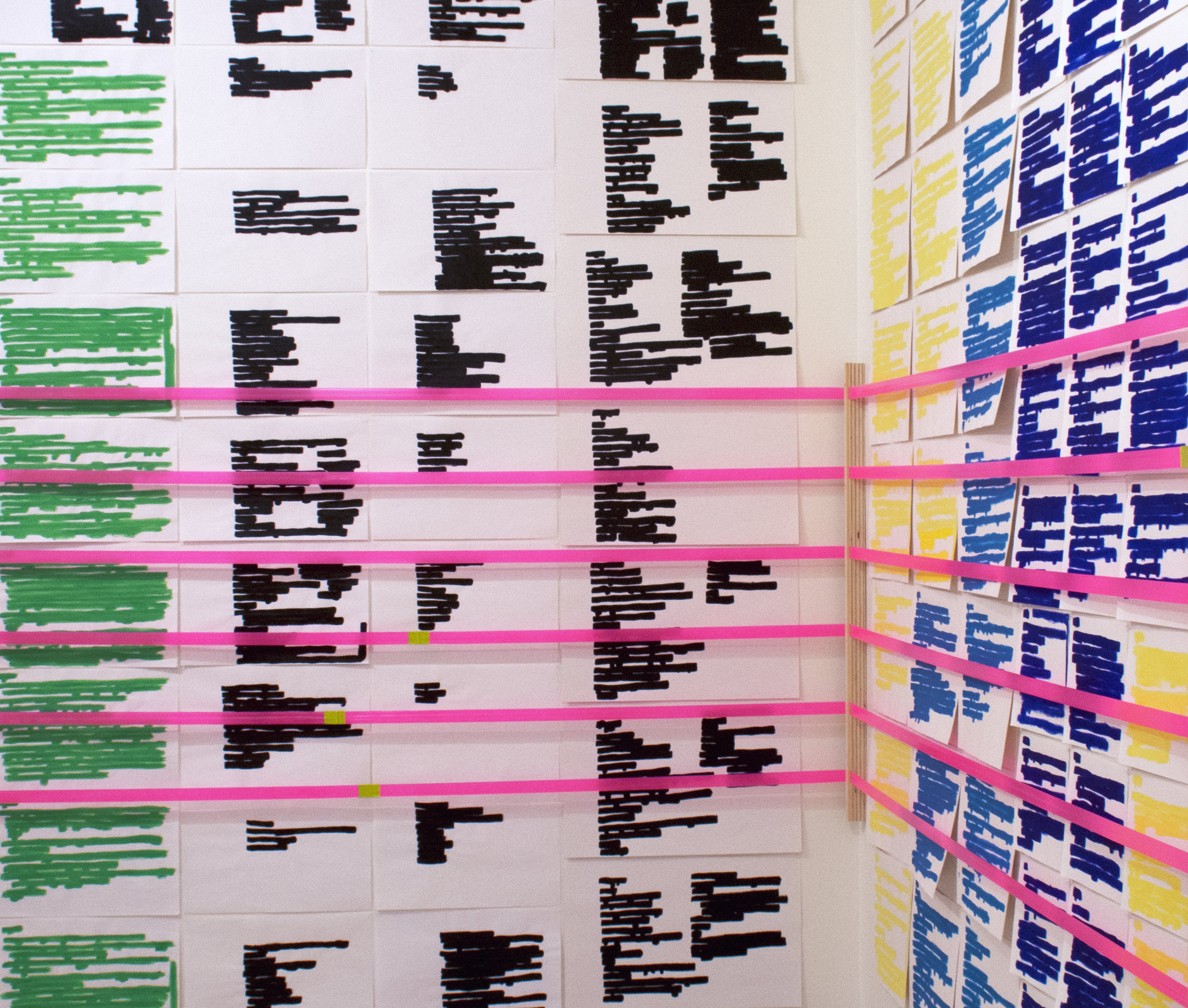 """LEAH GARNETT Room for Unknowing Marker, acrylic paint, gouache, vinyl tape, flagging tape, wood. Individual Drawings: varying dimensions from 8.5"""" x 11' to 13"""" x 24"""" Installation dimensions vary from site to site."""