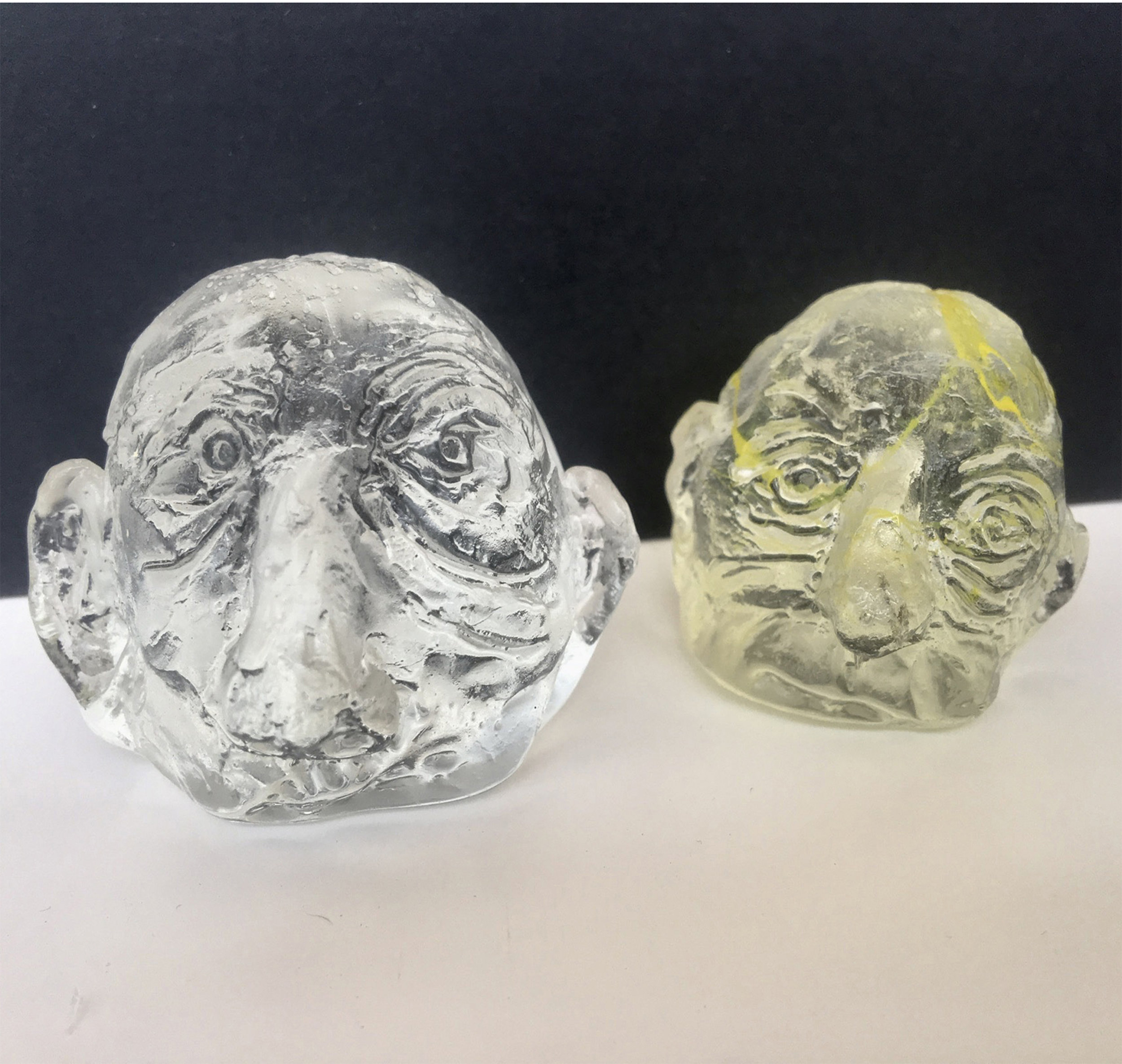 "Present and Transparent , 2017 Moulded glass, dimensions within 2"" circumference"