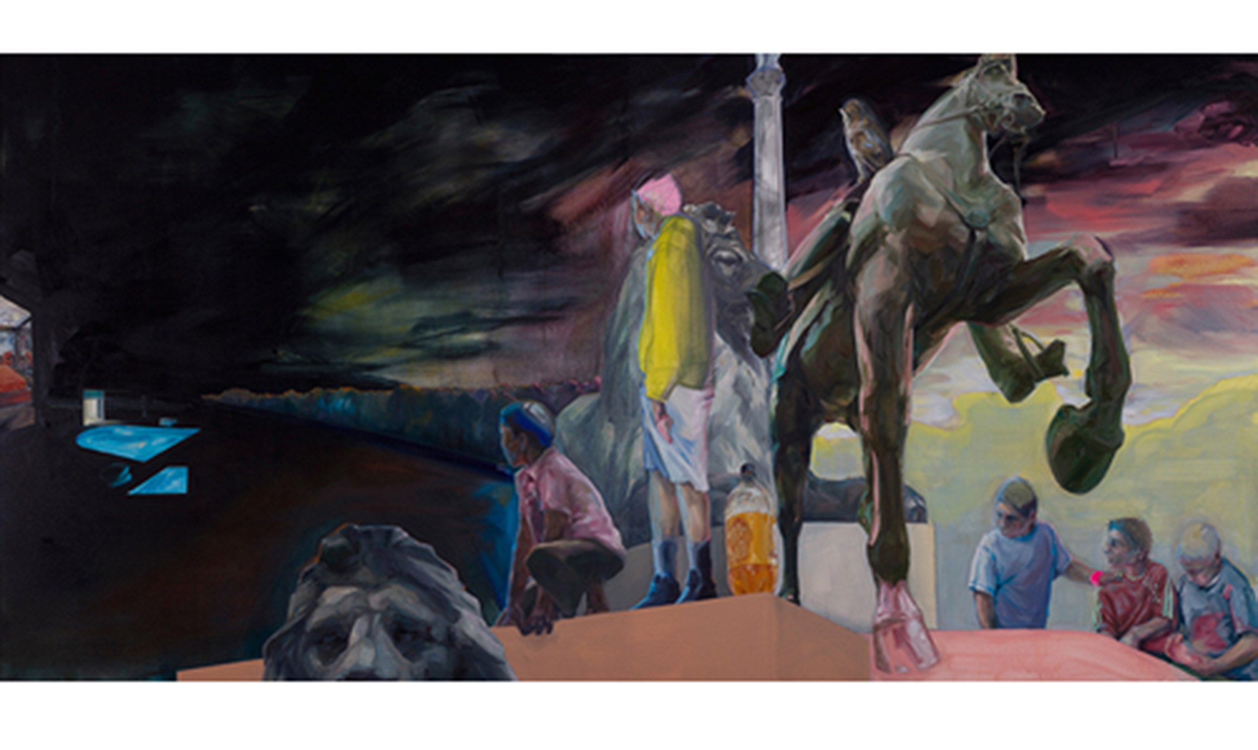 "You can only get there from here  - That's not how we do things here 05, 2012 Oil & acrylic on canvas Diptych, 70"" x 140"""