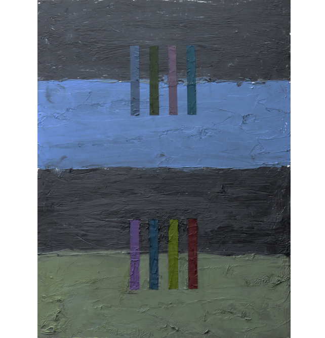 "Interference II, 2016  Oil, Alkyd Enamel, Wax on wood 16"" x 12"""