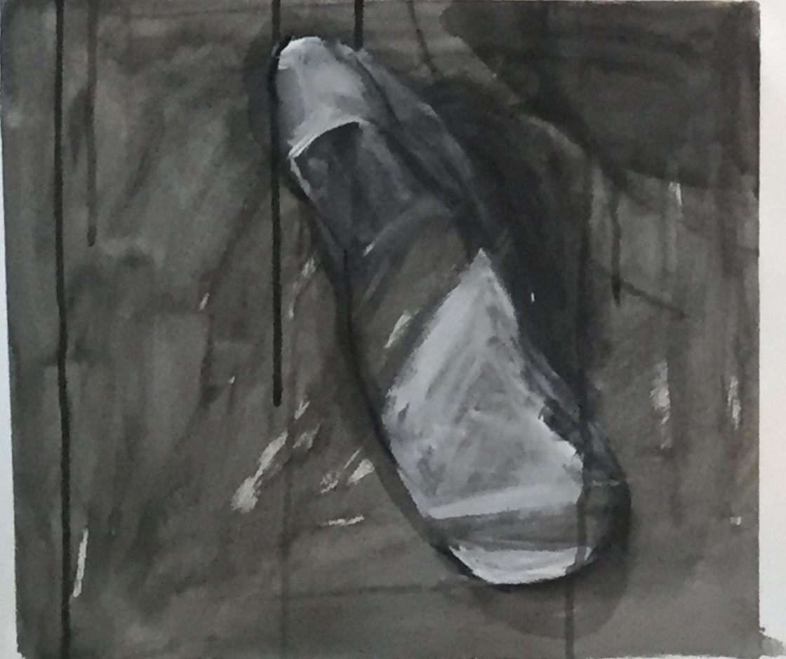 Untitled  by mira berlin Oil stick, ink wash, charcoal on paper Close up of larger piece, 24 x 36