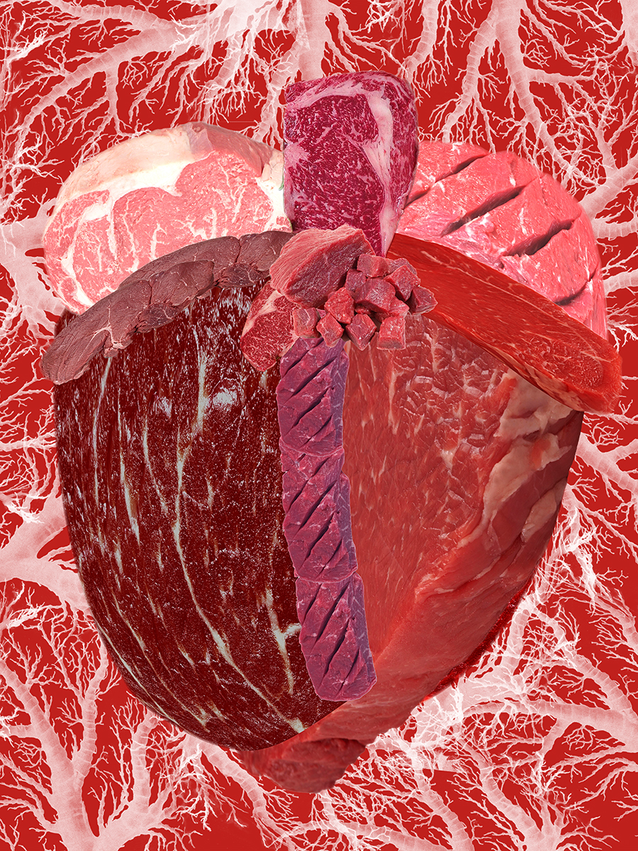 """Meat Heart: Raw  ,  2017 Photo-digital mixed media, pigment print on hot press paper Edition of 3 36"""" x 24"""""""