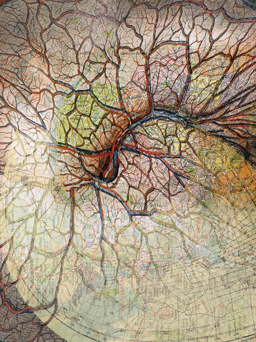 "Pathways (Paris),2017 Photo-digital mixed media, pigment print on hot press paper Edition of 3 36"" x 24"""