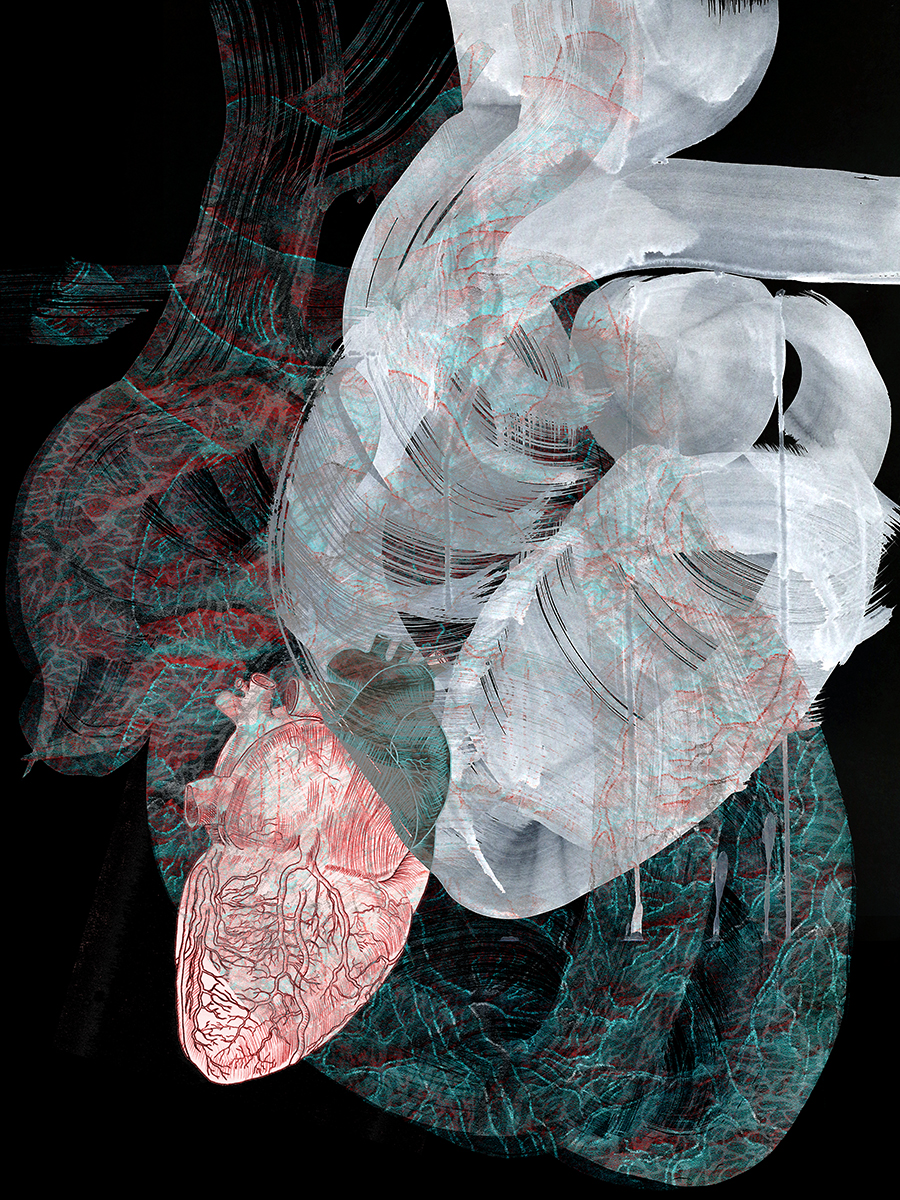 "Heart Haiku , 2017 Photo-digital mixed media, pigment print on hot press paper Edition of 3 36"" x 24"""