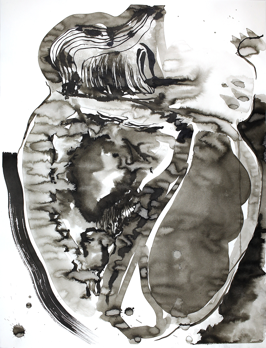 """Complicated Side, 2018 India ink on drawing paper 24"""" x 18"""""""