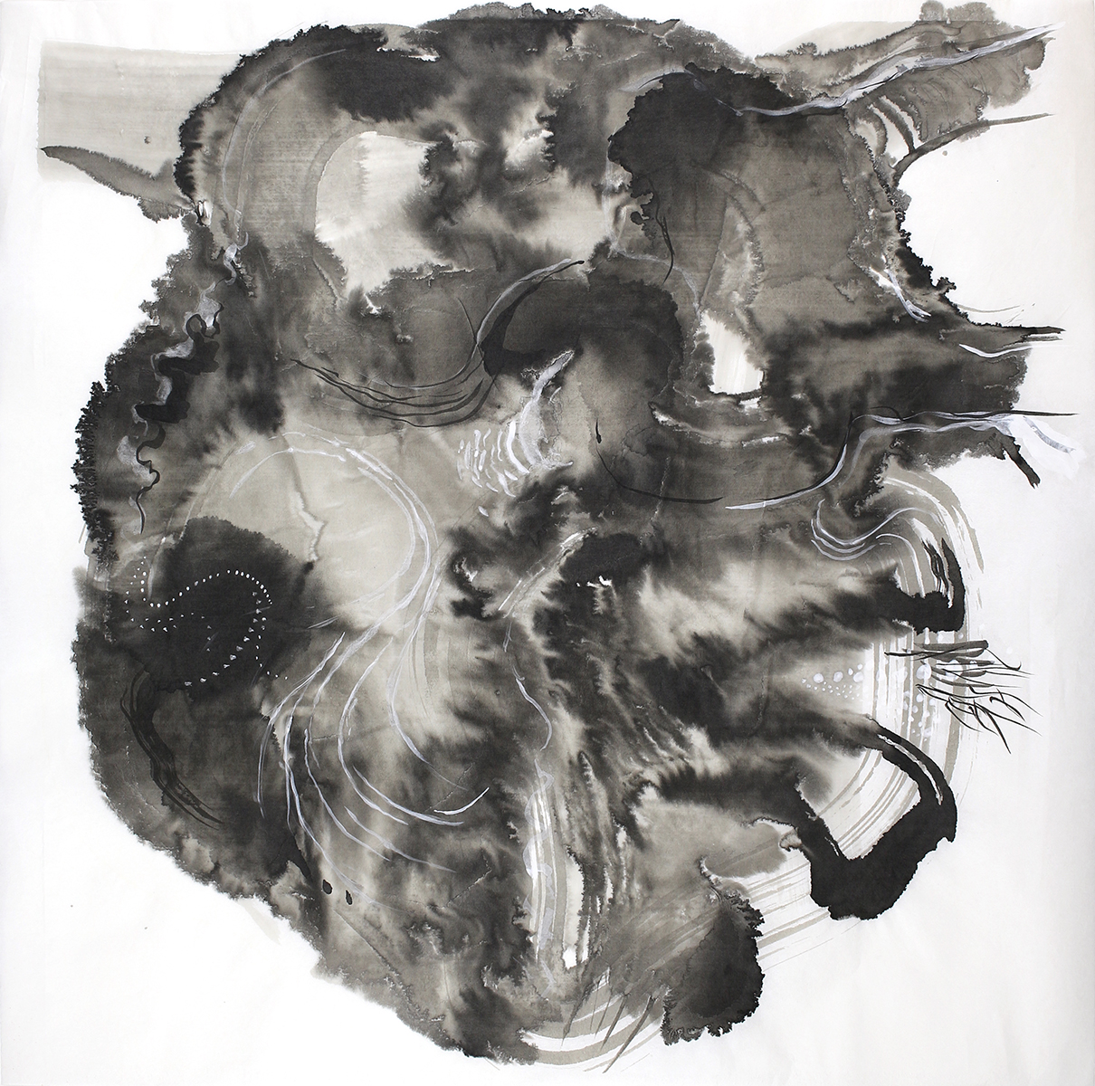 """Turbulent Heart , 2018 India ink on Chinese rice paper 24"""" x 18"""""""
