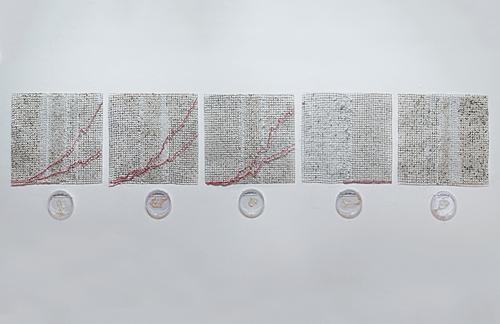 "Ebola Graph (series)  20"" x 20"" (each grid) Grown salt crystals, wool, wire, halobacteria, petri dish Photo by David Williams 2015"