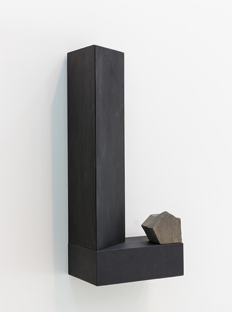 "Finding Form II,  2017 Rock, plywood, black gesso 28"" x 12"" x 8"""