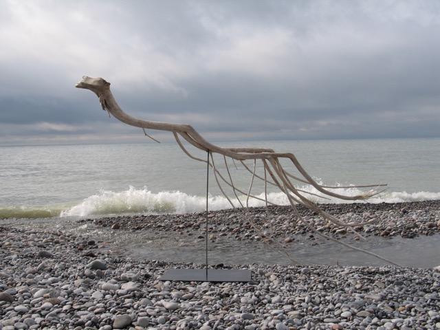 Swimmer , 2012  Lake Ontario driftwood  148 x 240 x 74 cm