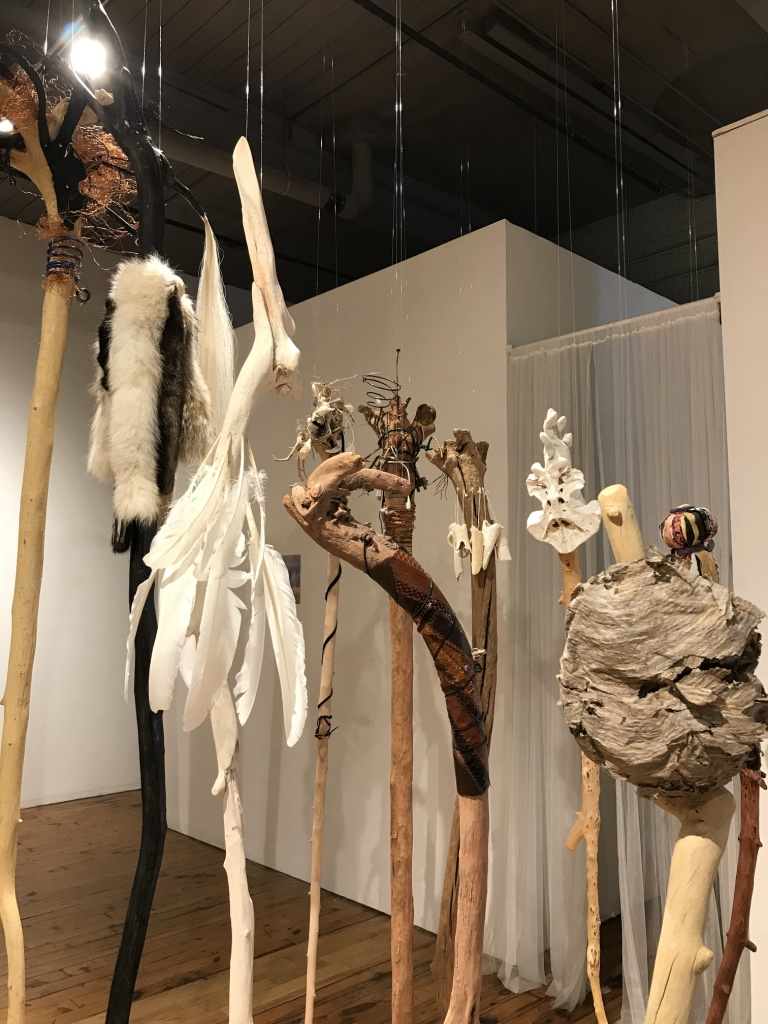 Wander In The Elements  (Detail), 2017 - 2018 Multi-media with various natural animal, vegetable, mineral elements on driftwood Installation view at the Red Head Gallery