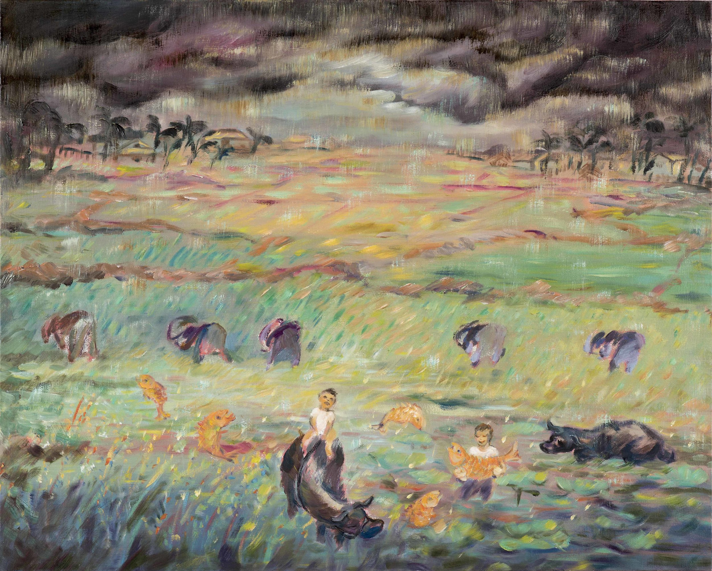 """Storm Over Rice Field,  2017 Oil on canvas 24' x 30"""""""