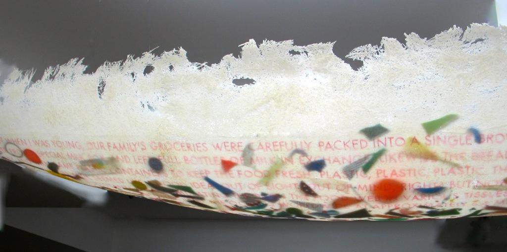 Turgid Tides  (Detail), 2016 Fibreglass, plastic bits, writing on clear food wrap 2.8m x 38 x 38 cm