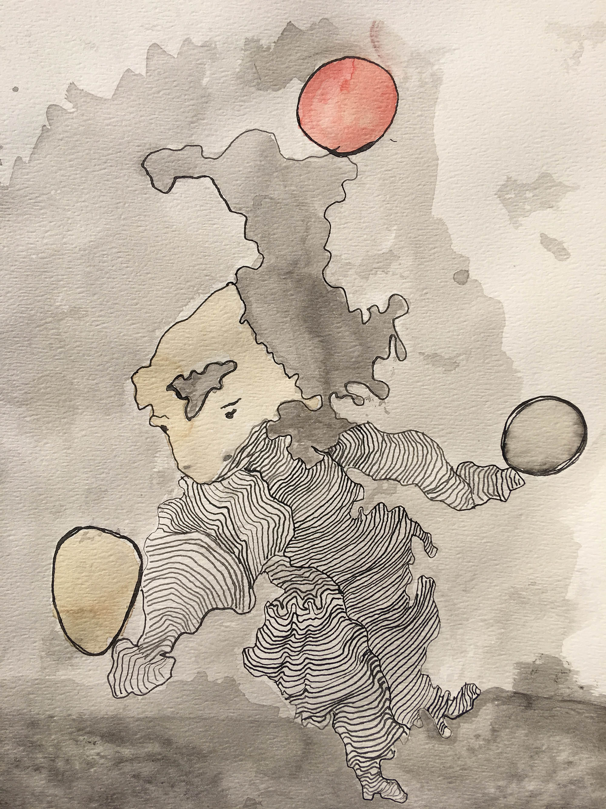 "Zoraida Anaya  Untitled, 2018 Indian ink drawing on paper 8"" x11"""