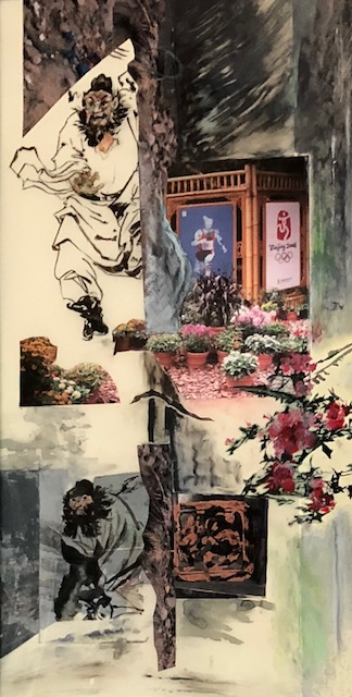 "Margie Kelk  The ghost killer Zhong Kui bursts forth to protect our homes in Toronto! , 2011 Mixed Media 20"" x 31.5"""