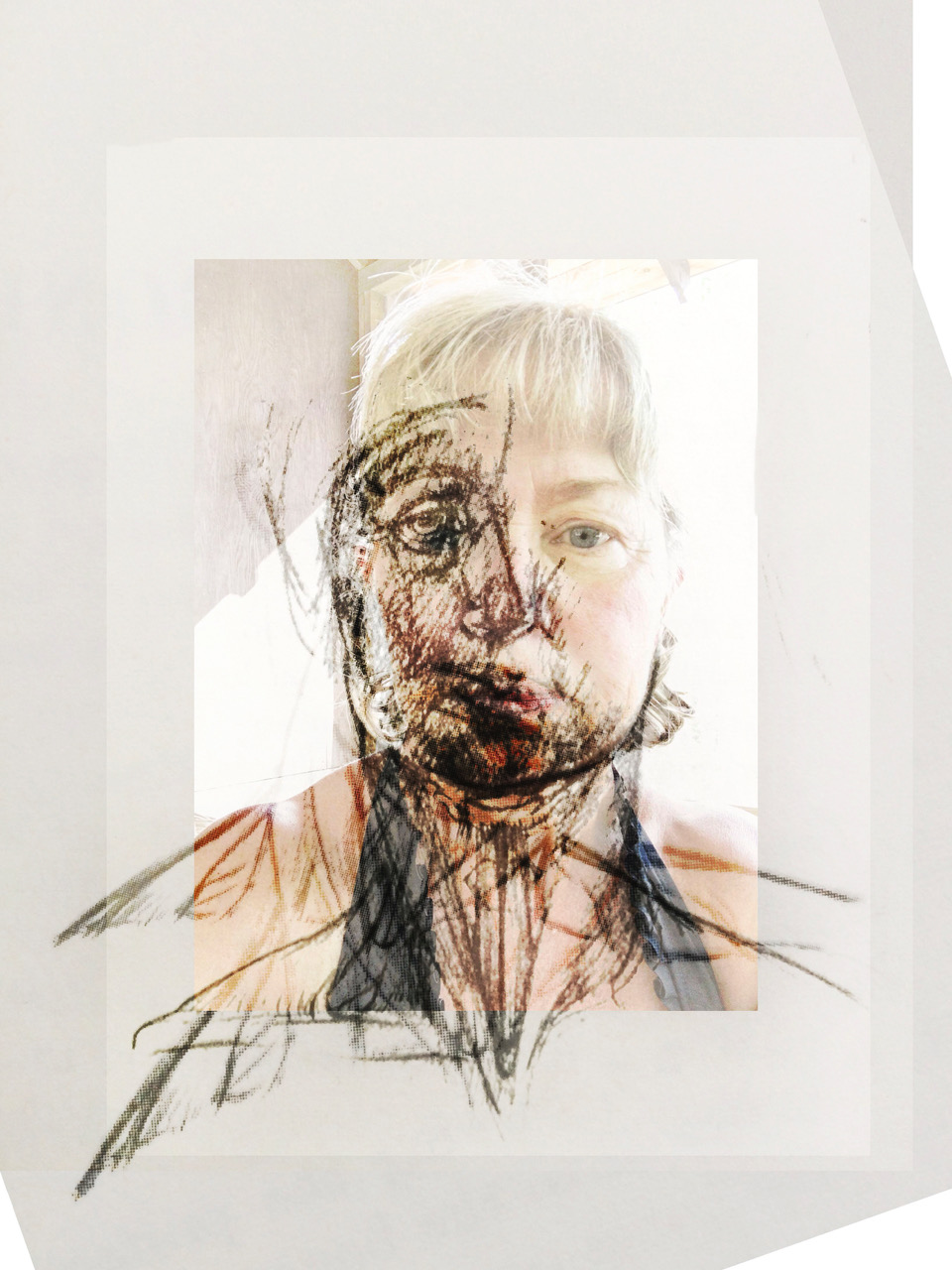 "Split Head,  2016 Archival ink jet on Awagami Washi paper 8.5"" x 11"""