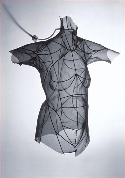 "J. LYNN CAMPBELL Model (No. 5), 2002 Copper wire fabric, 34-gauge brass wire Flexible metal wall mount 35"" x 24"" x 15"""