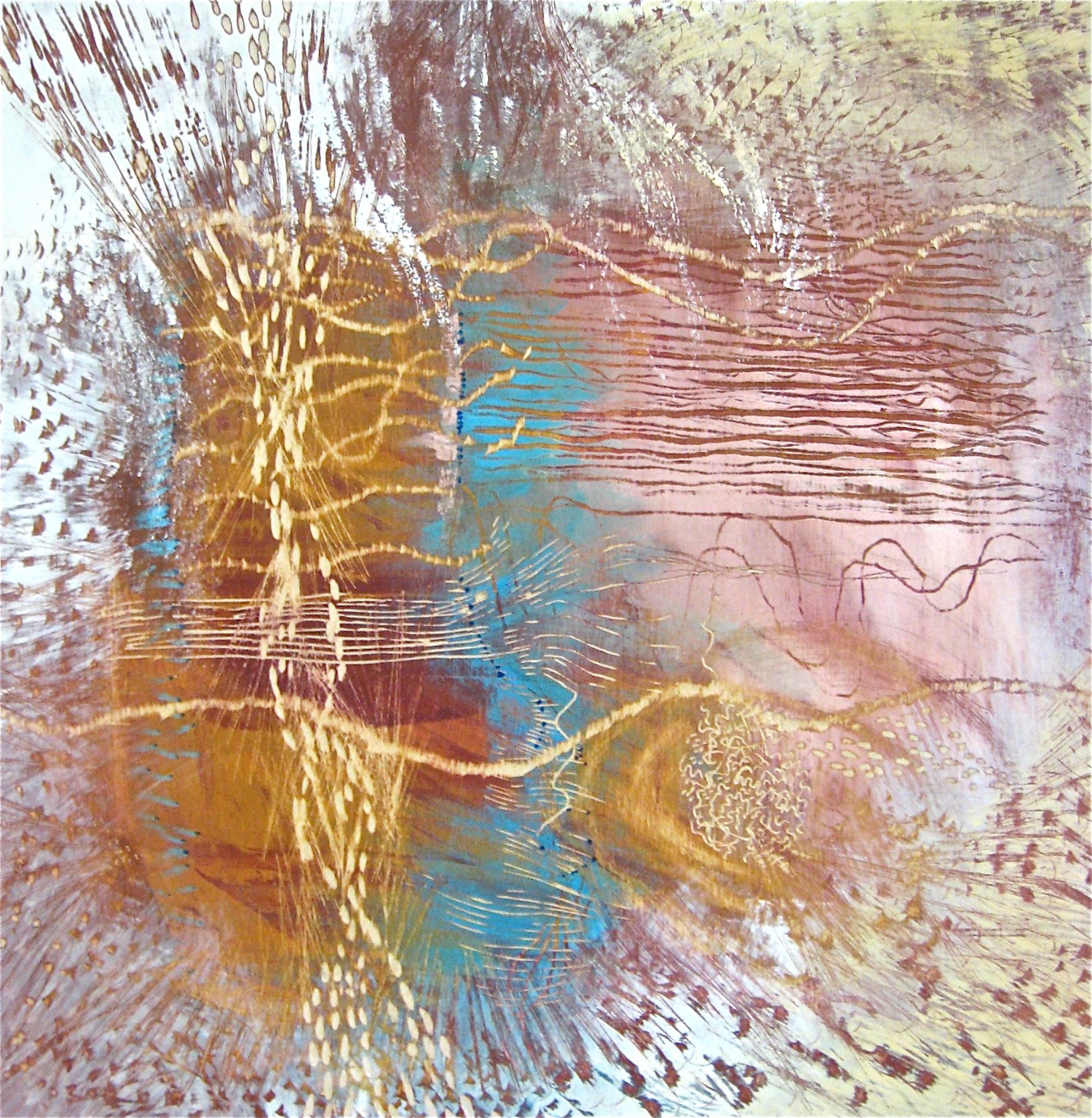 "MARALYNN CHERRY  River Soundings , 2013 Acrylic paint, carving, rasping and sanding on birch ply 24"" x 24"""