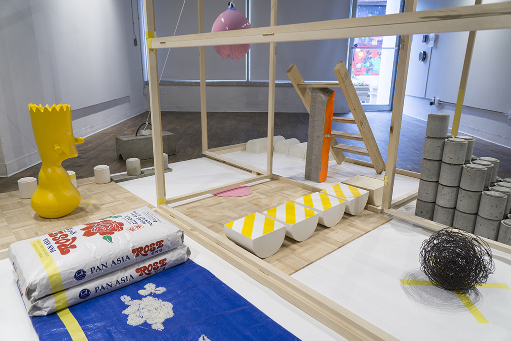 Home is where the Bart is  (detail) ,  2015 - 2018 Installation view at the Xpace Cultural Centre   Mixed media including: Wood, concrete, rebar, rebar tie-wire, plaster, silicon and rice 9' x 9' x 6'