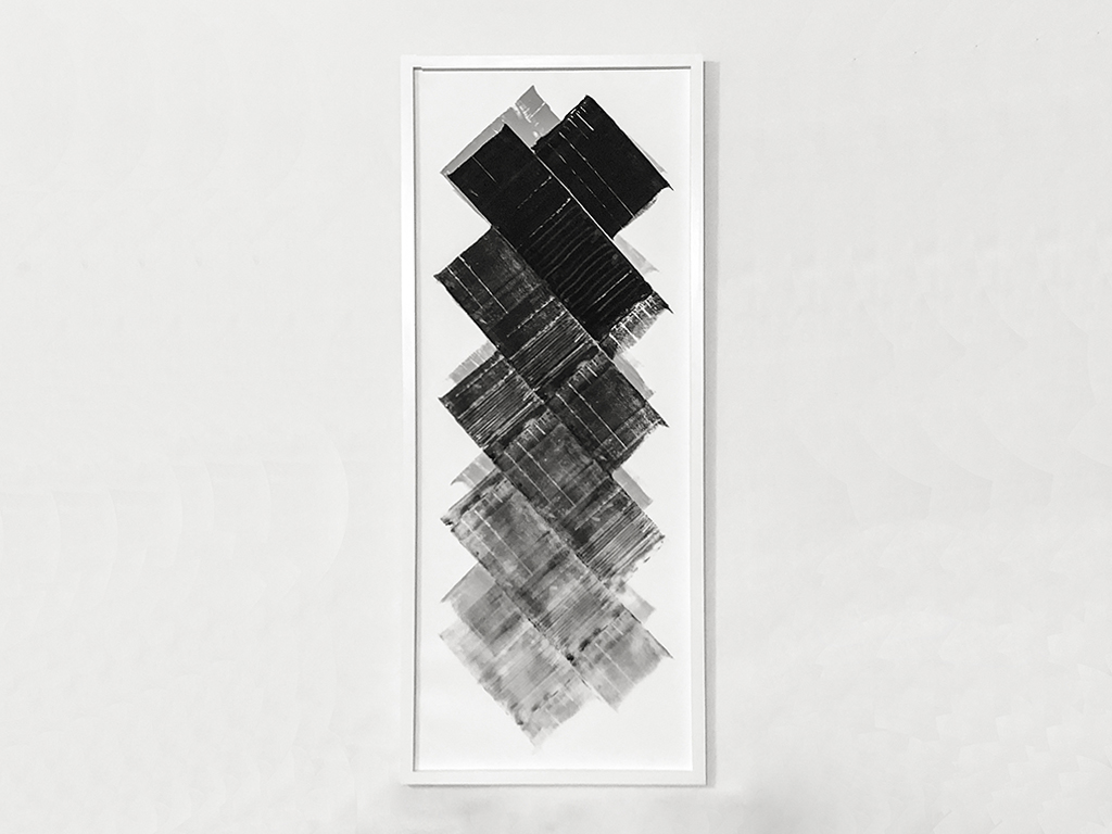 """Foggy mountainscape , 2018 Ink transfer on vellum and foam with engraved linoleum print roller 18"""" x 43"""""""