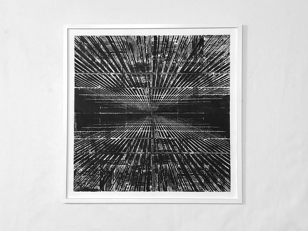 """Dreams of falling through a building too tall , 2018 Ink transfer on vellum with engraved parquet floor tile woodblock 32.5"""" x 32.5"""""""