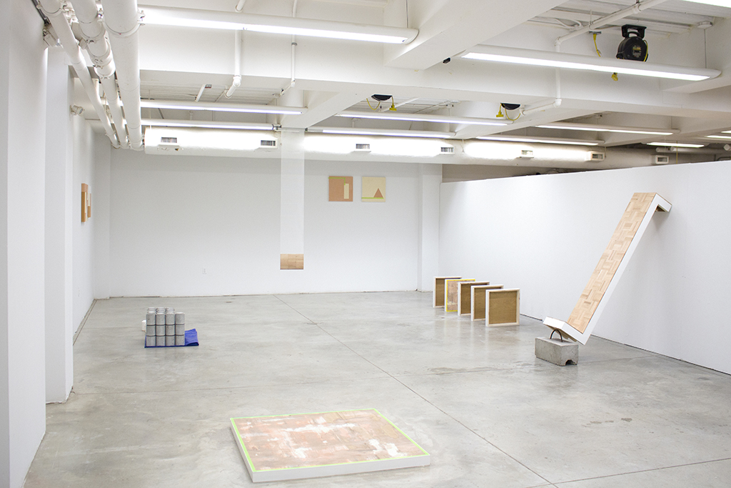 From the ground up , 2016 - 2017 Installation view Mixed media including; wood filler, drywall compound, wood, concrete and painter's tape