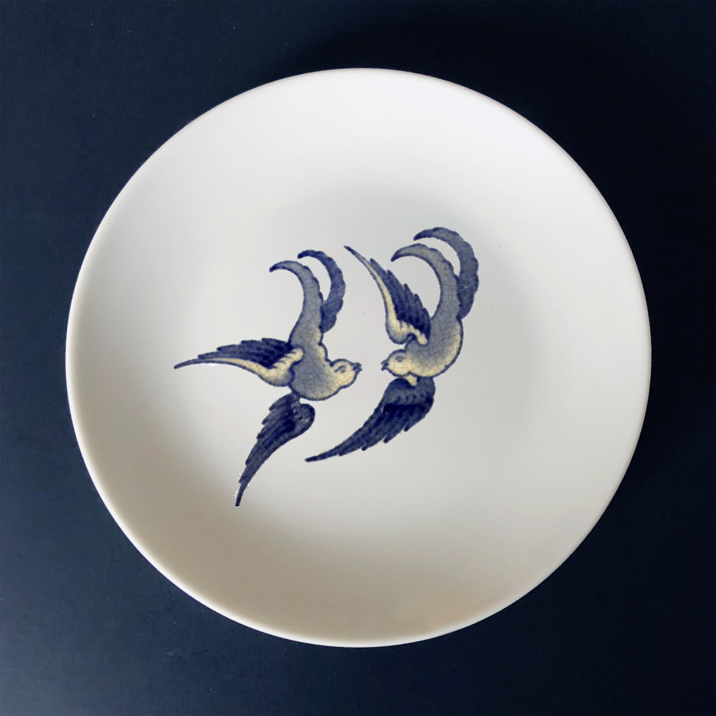 "Blue Willow Bird 1 , 2019, custom ceramic decal on a ceramic plate, 6"" in diameter"