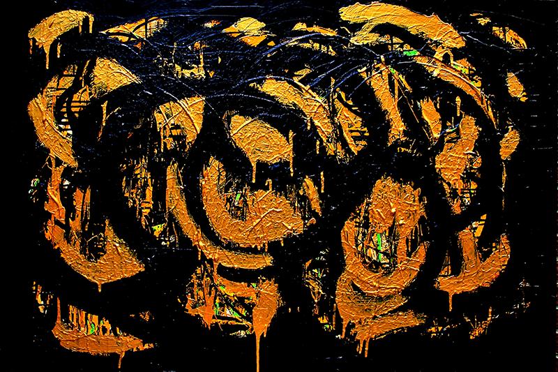 "Whirlpool Variations 17 , 2011 Acrylic 40"" x 60"""