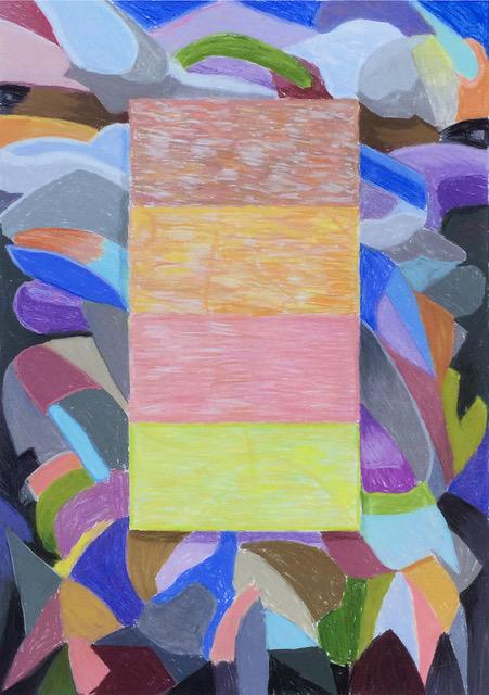 "Zoomorphic Redaction #3 , 2019, chalk pastel on cotton rag paper, 30"" x 22"""
