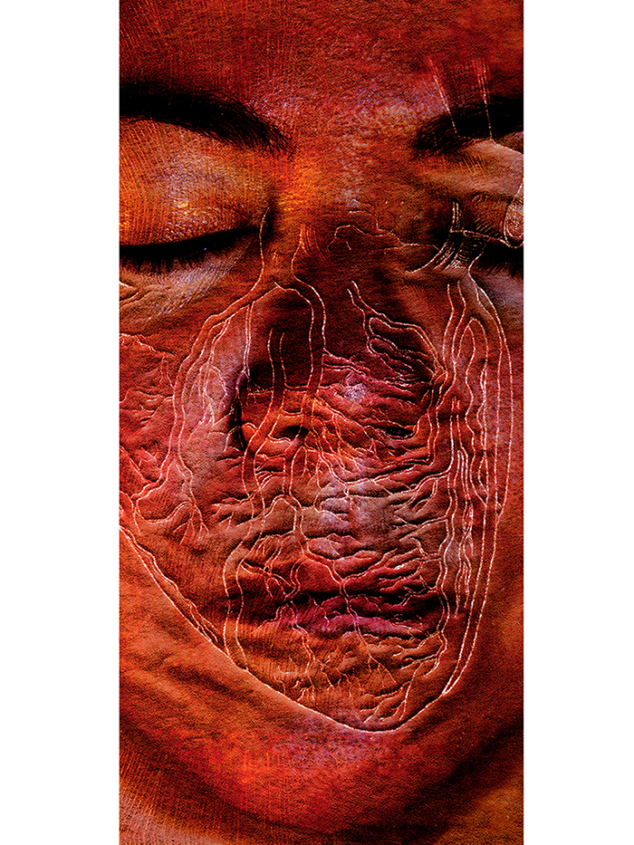 "Scars (Heart on My Face)  Film-based transfer print on Chinese mulberry paper and non-woven fusible interfacing; acrylic; oak dowels 87"" x 38"""
