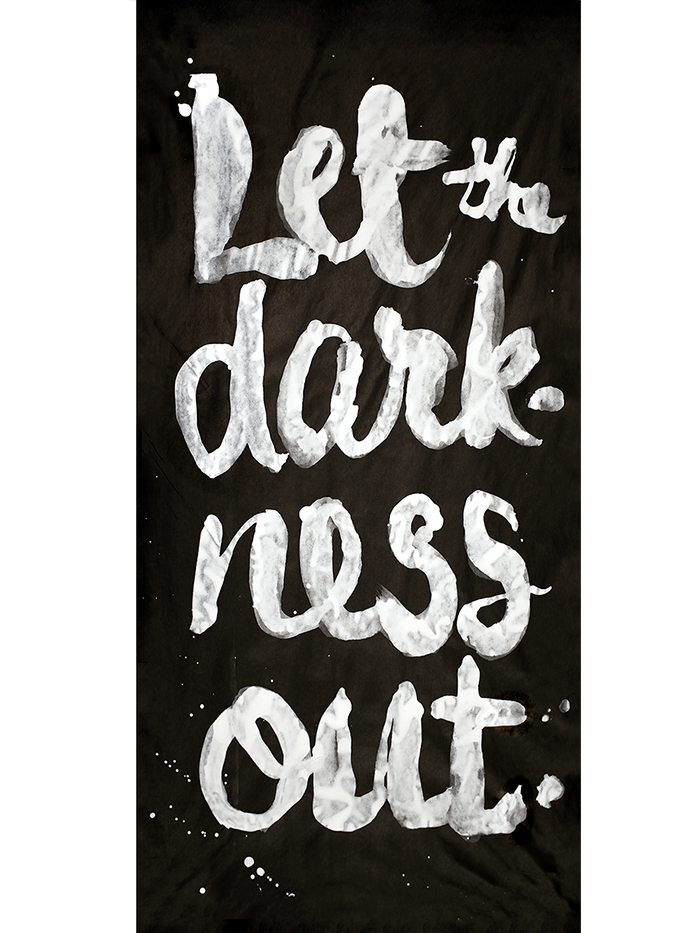 "Let the Darkness Out  Film-based transfer print on Chinese mulberry paper and non-woven fusible interfacing; acrylic; oak dowels 87"" x 38"""
