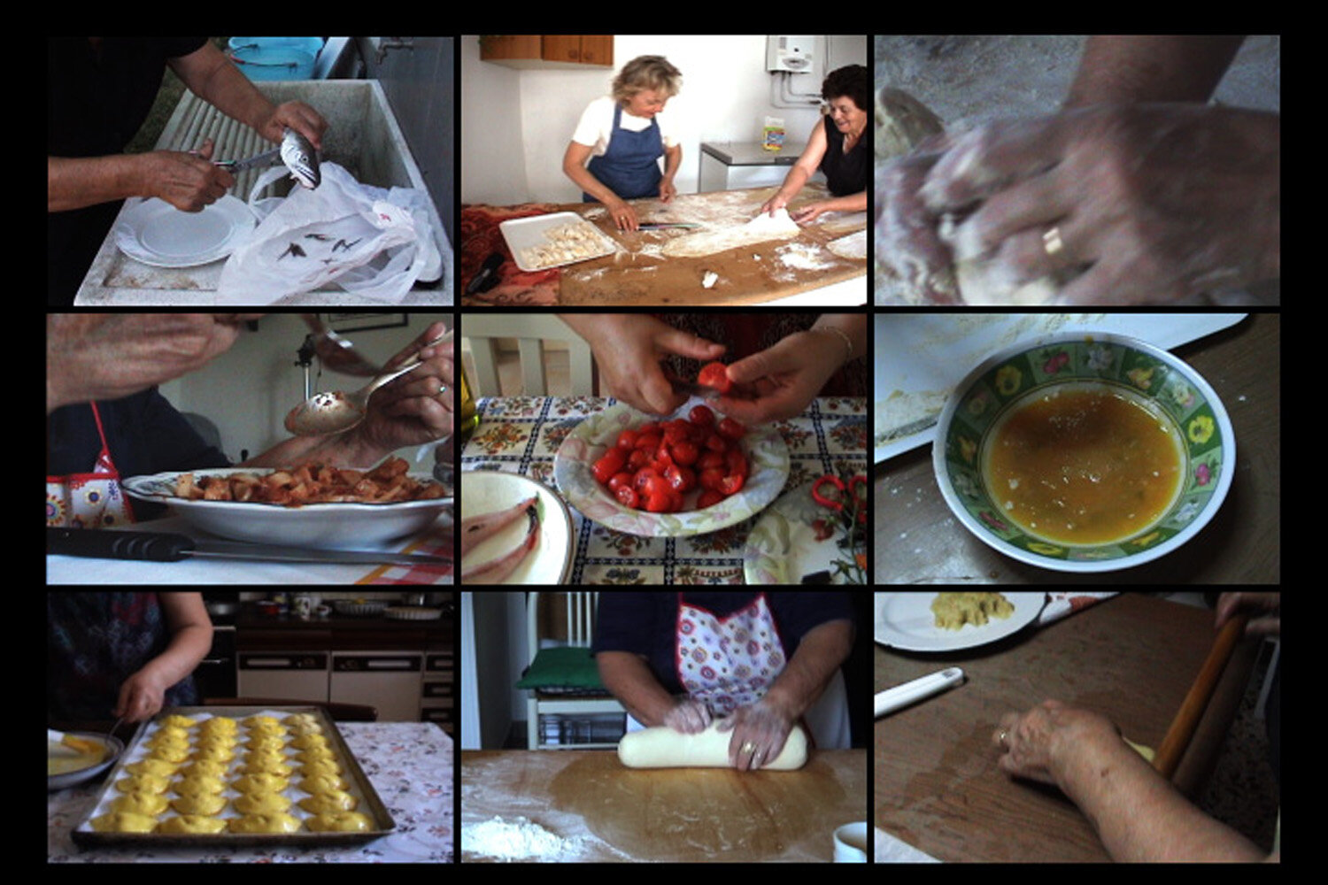 Feed,  2010 Video still from  Cooking In Italy  (16 channel grid) Dimensions vary
