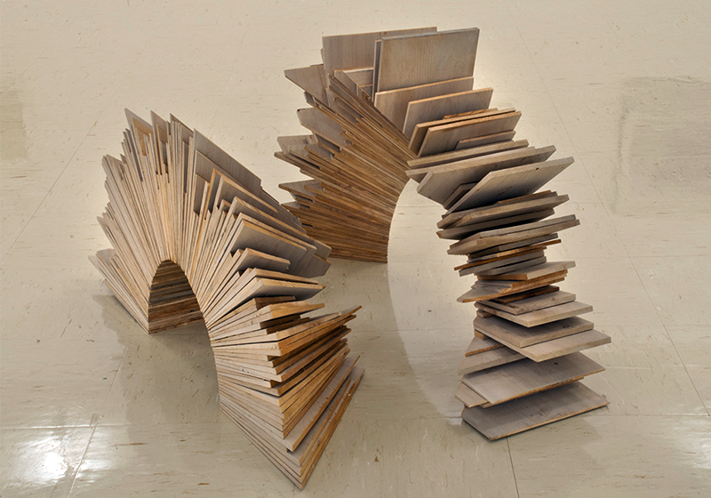 """Arched,  2010 Cedar shingle tips and house stain leftovers from job construction sites 18"""" x 8"""" x 18"""" and 20"""" x 8"""" x 18"""" Edition 1 & 2/6"""