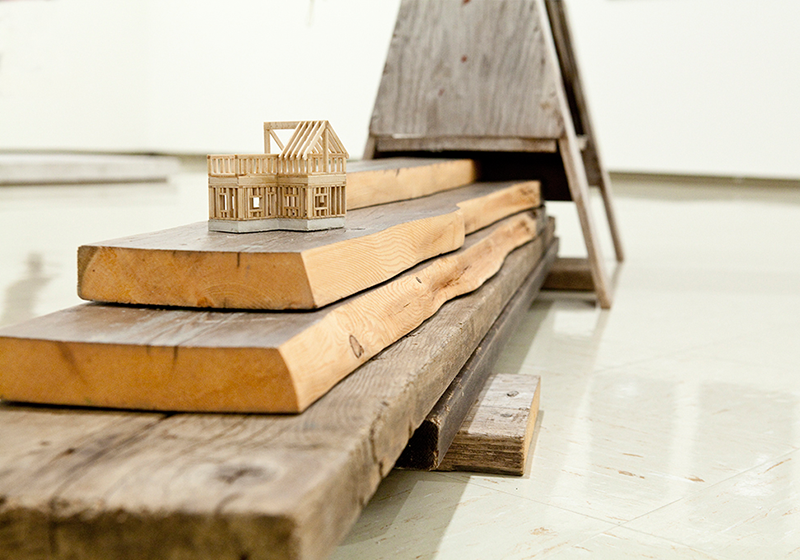 """I own five wooden senses, and a sixth like water  (detail) ,  2012 Used wooden planks, hand-milled poplar and pine, cement, plywood, cedar shingles, and twine House size: 4"""" x 3"""" x 2"""" (installation dimensions may vary)"""