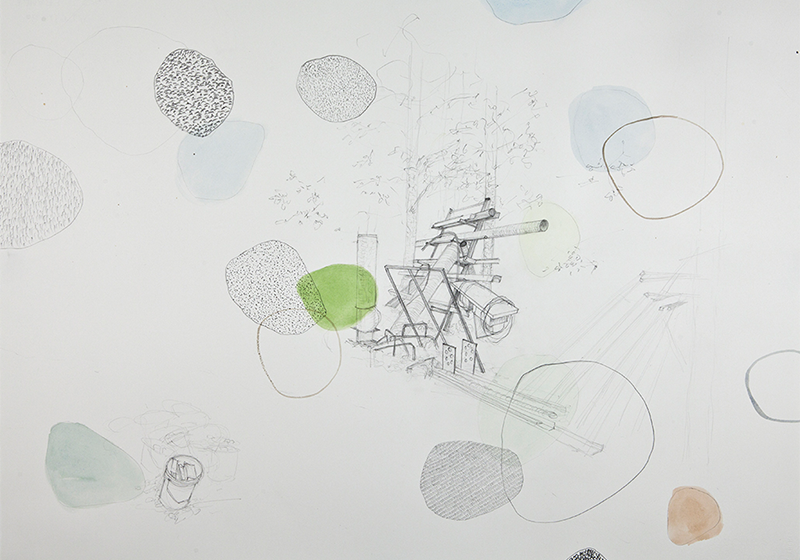 "Junkpile,  2013 Graphite, pencil crayon, and gouache 22"" x 30"""