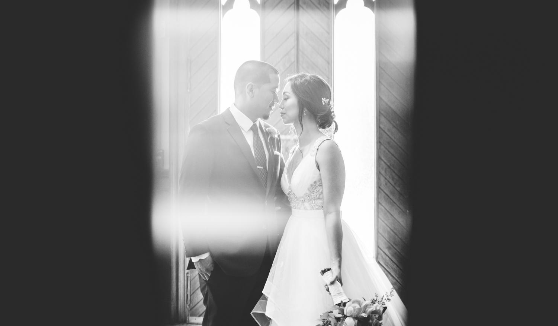 020 creative black and white wedding portrait in a church.jpg