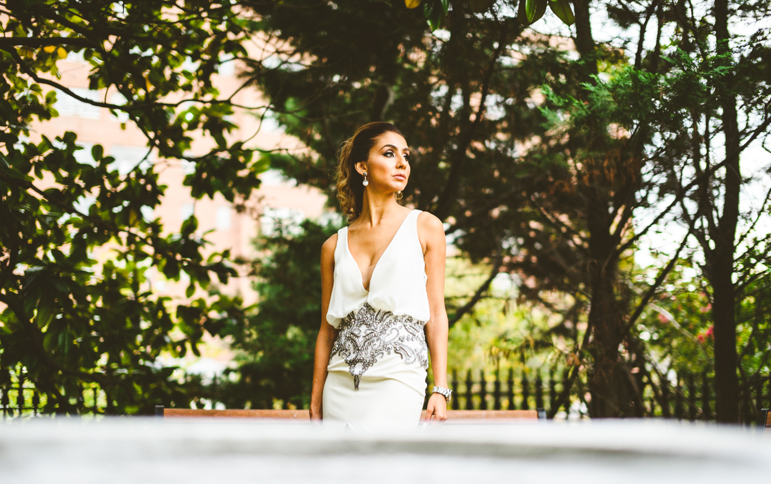 001 - bride to be poses for a portrait outdoors - richmond wedding photographer nathan mitchell.jpg