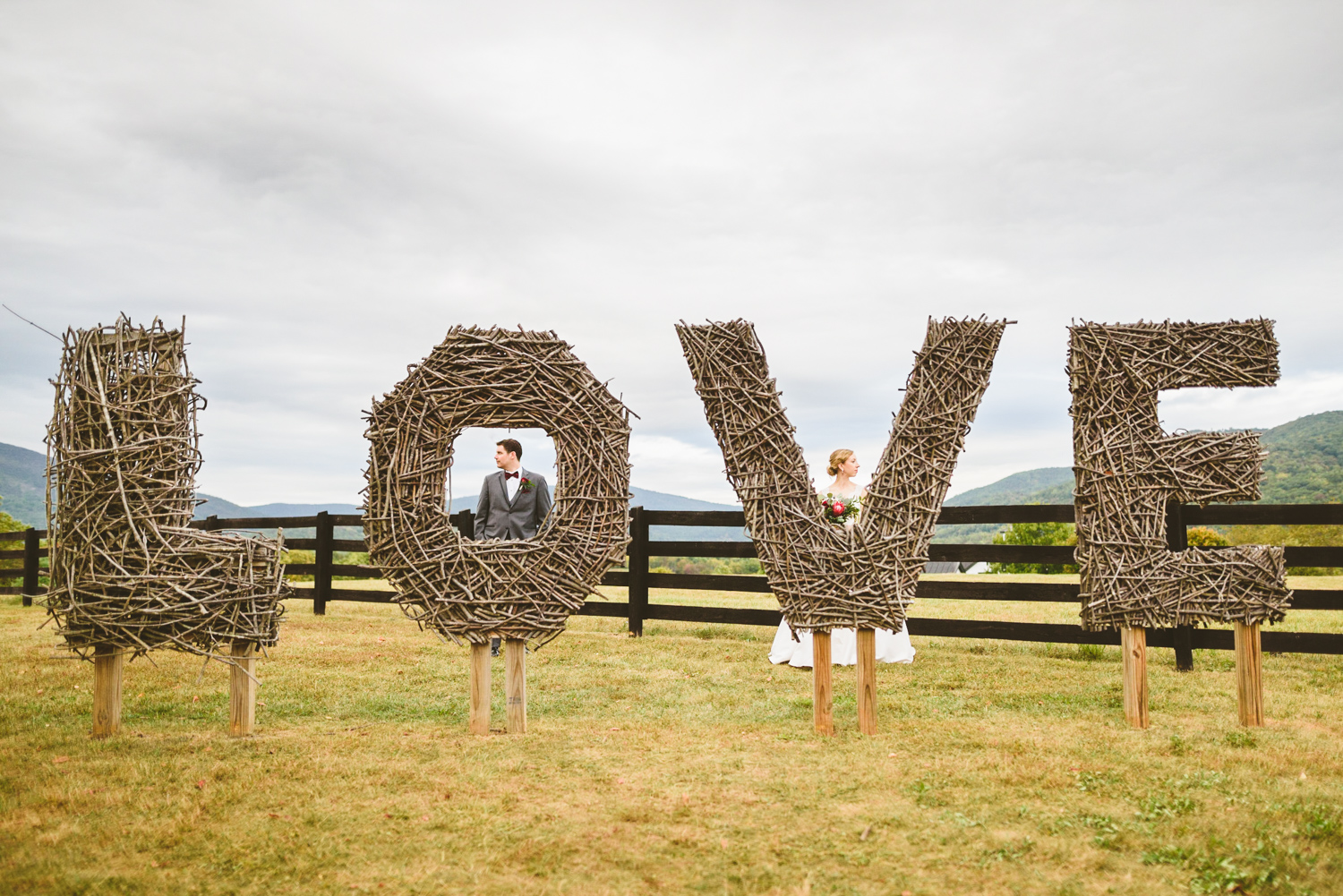 001 - love sign made out of sticks montfair resort farm richmond virginia wedding photographer.jpg