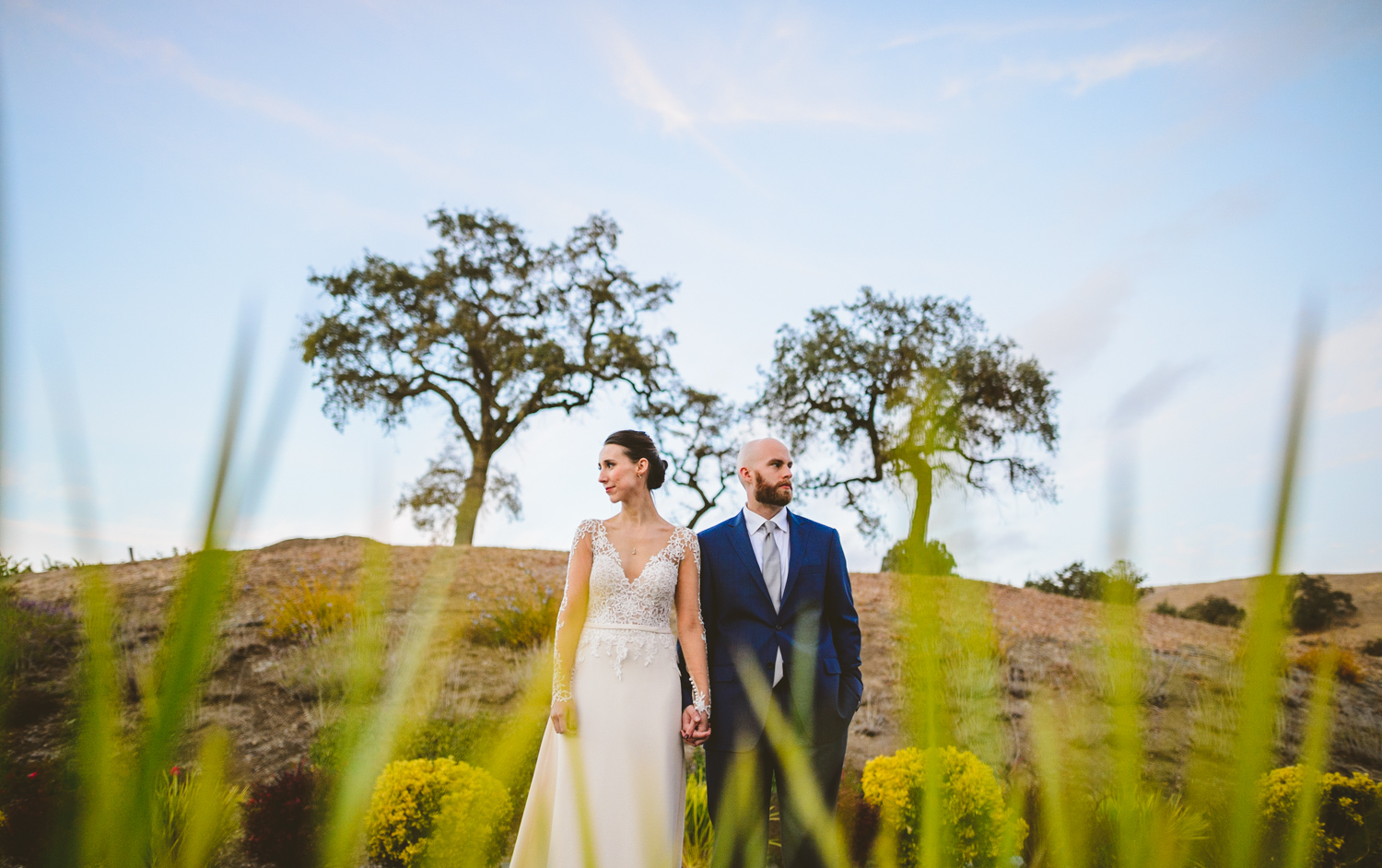 026 - creative portrait of bride and groom with california tree in the background.jpg