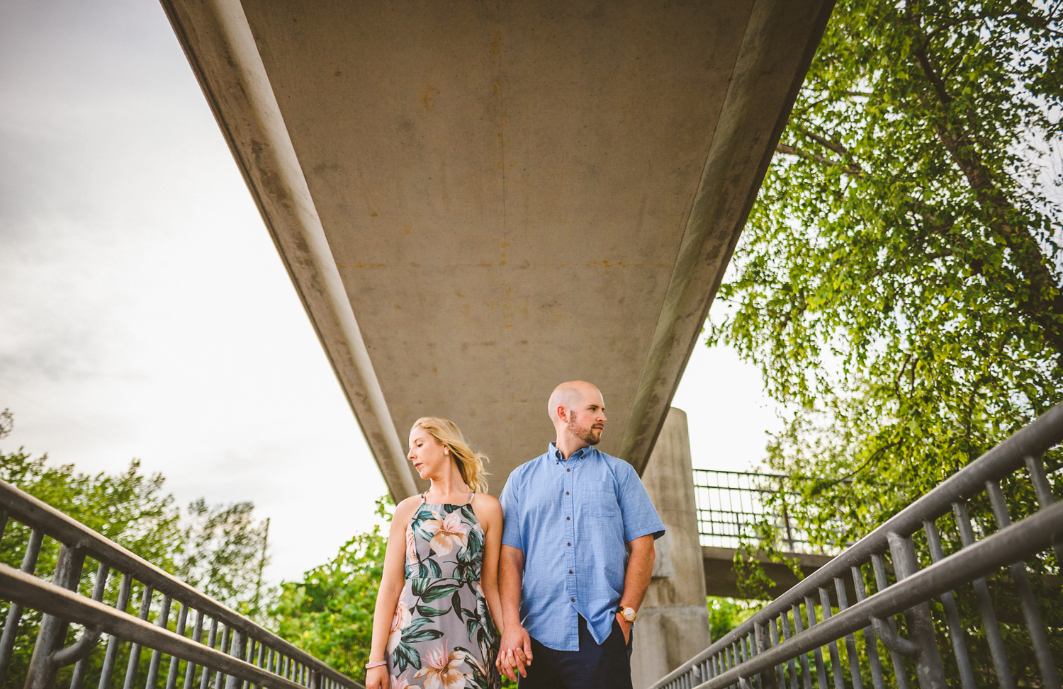 004 - couple poses for a creative photo at floodwall park in richmond virginia.jpg