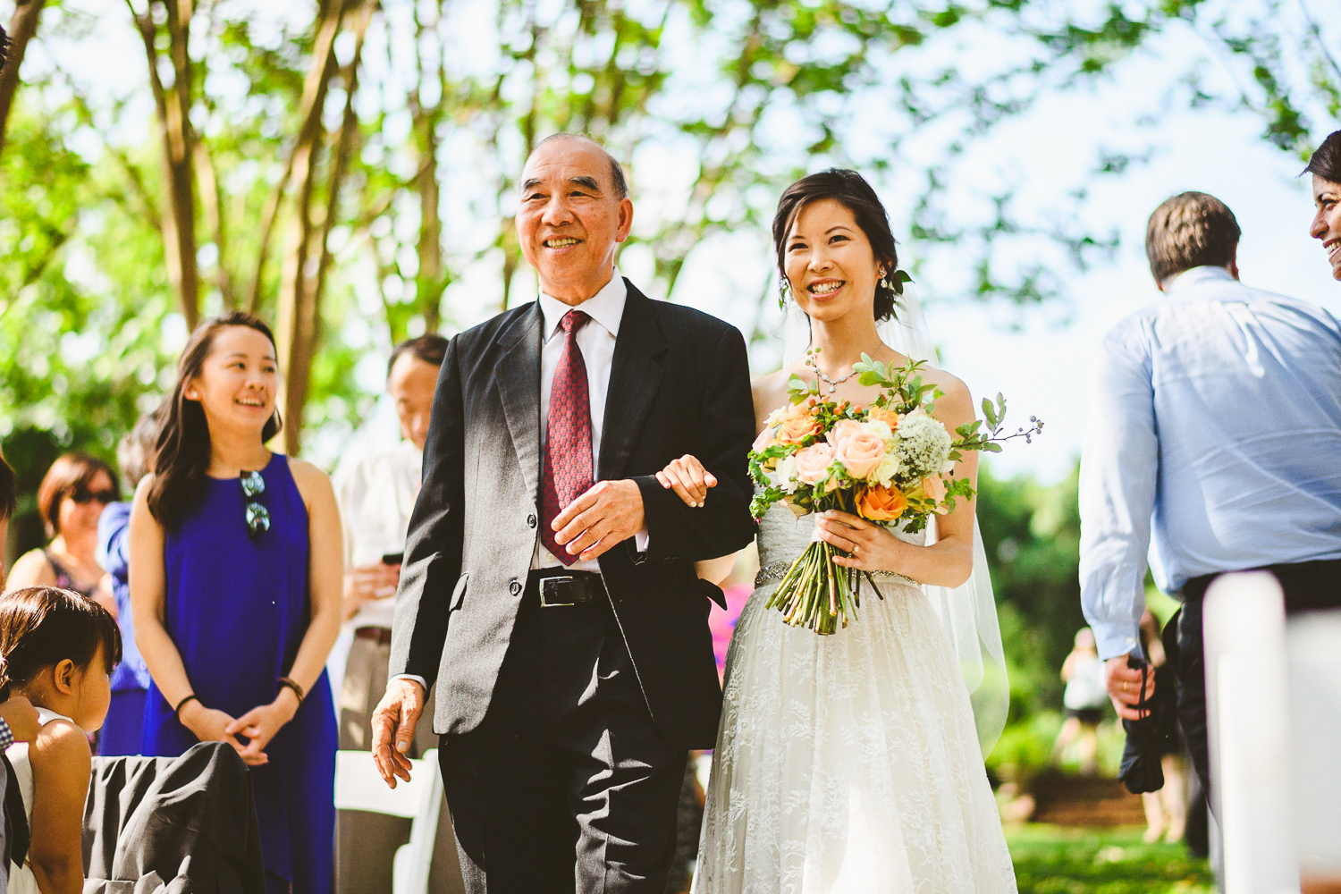 026 - bride walking down the aisle with her father smiling washington dc wedding photographer.jpg