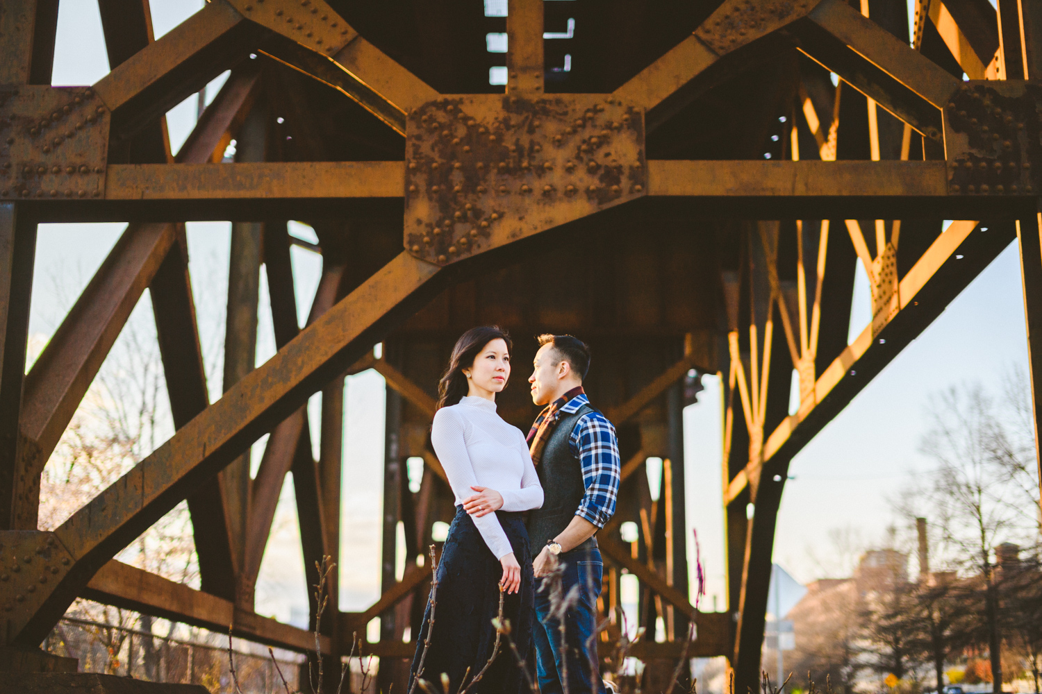 020 - couple standing under train bridge in richmond virginia wedding photographer.jpg