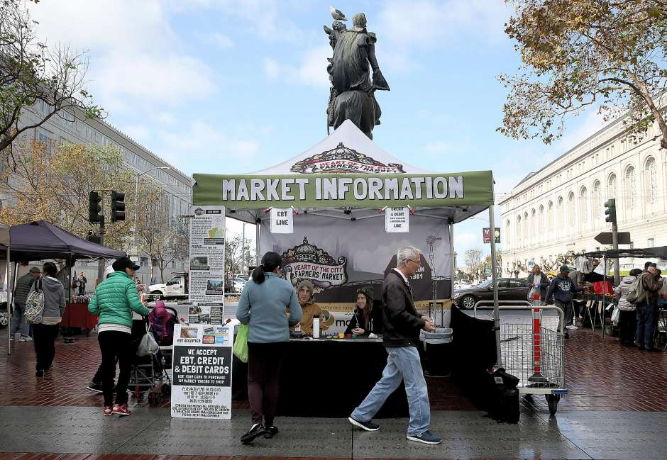 View of the kiosk to receive credit card and food stamp tokens at the Heart of the City Farmer's Market at the civic center on Wednesday, November 23, 2016, in San Francisco, Calif. Photo: Liz Hafalia, The Chronicle