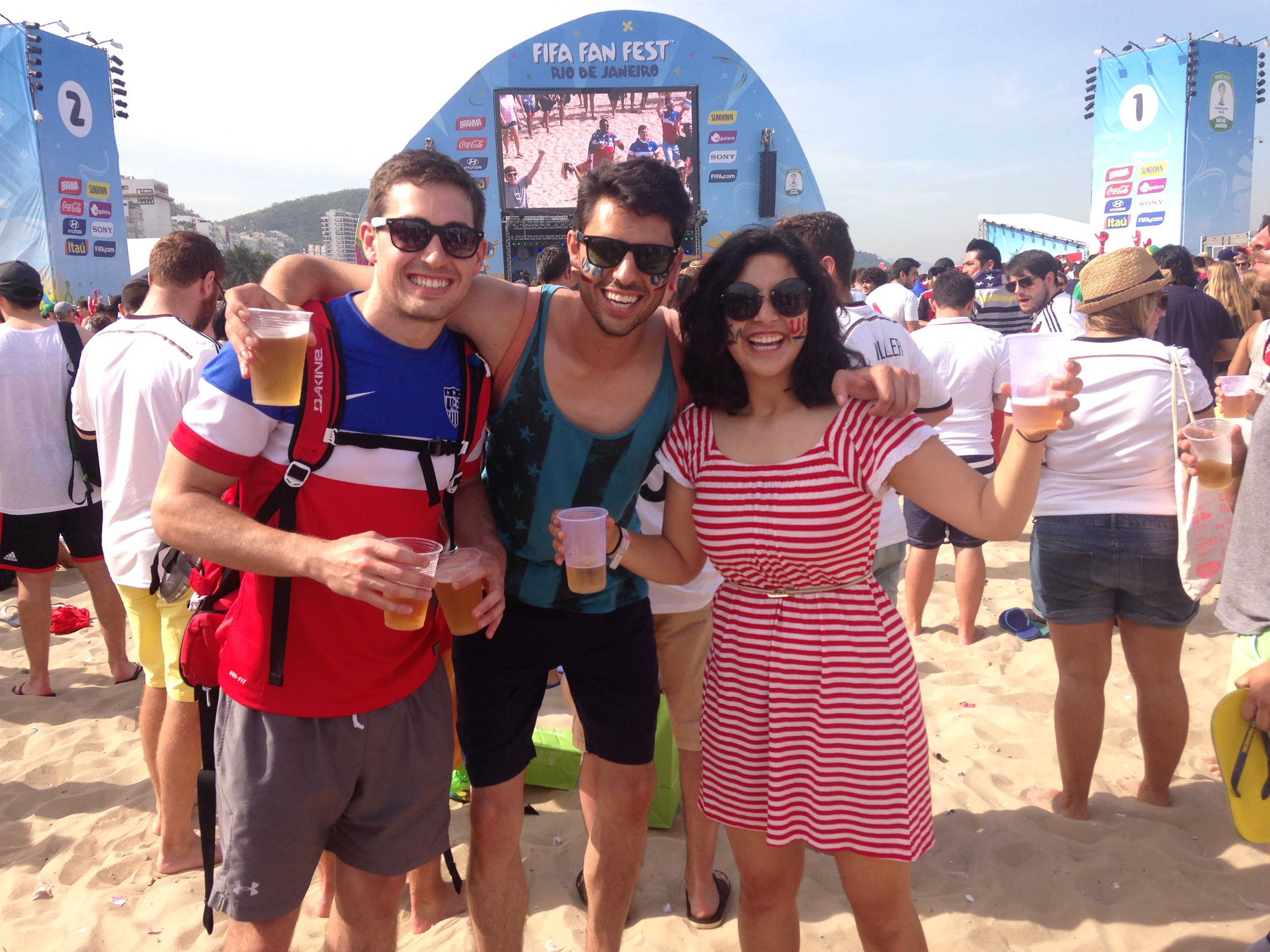 USA vs Germany game! On the beaches of Copacabana!