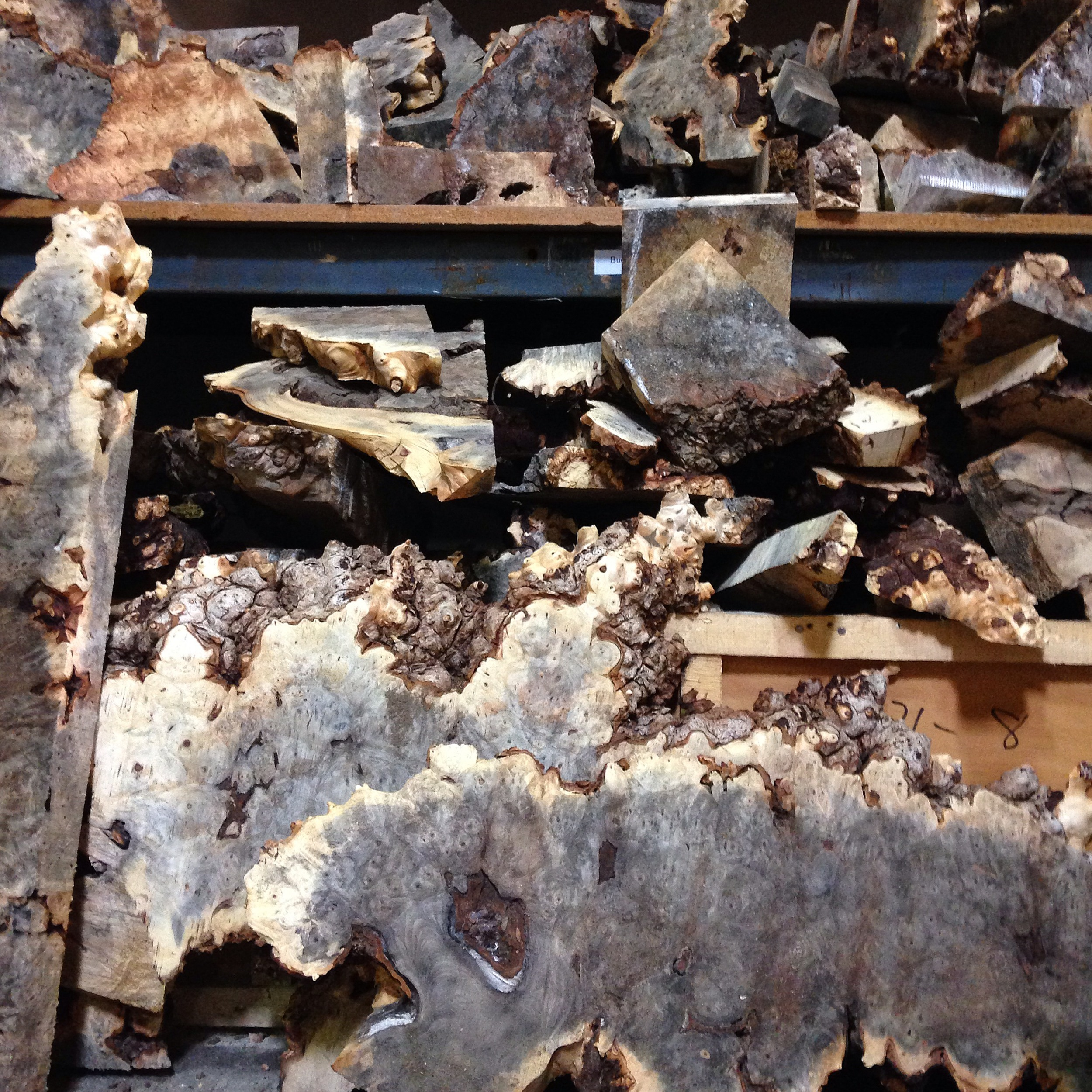 Buckeye Burl at the lumber yard! It comes in irregular shapes and sizes. It can be very tricky to work with because of it.