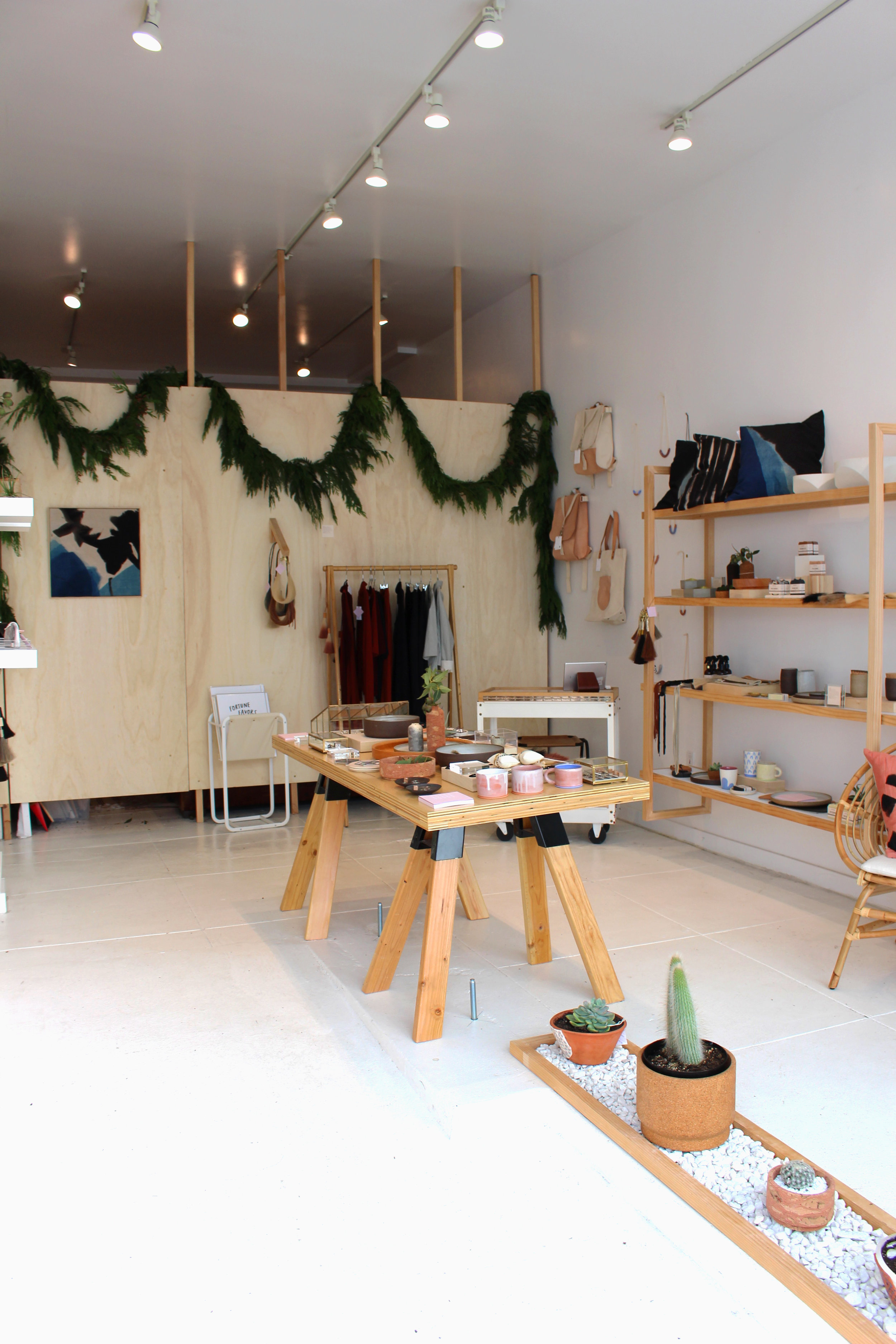 Entrance to the shop. You can see the tables and shelves full of goodies.
