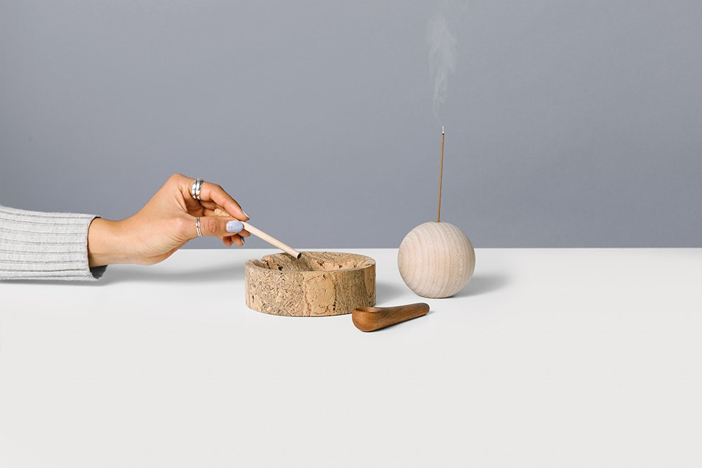 Our Smoke Collection, including our marble cork smoke dish, wooden pipe, and globe incense holder is a celebration of the passing of prop 64!