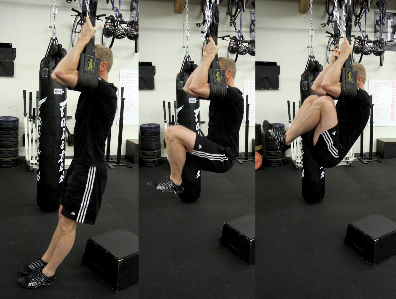 Hanging knee raises add good stress to abdominal training.